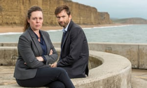 National treasures … in a historic location. Olivia Colman (left) and David Tennant in a publicity shot for Broadchurch, in Dorset.