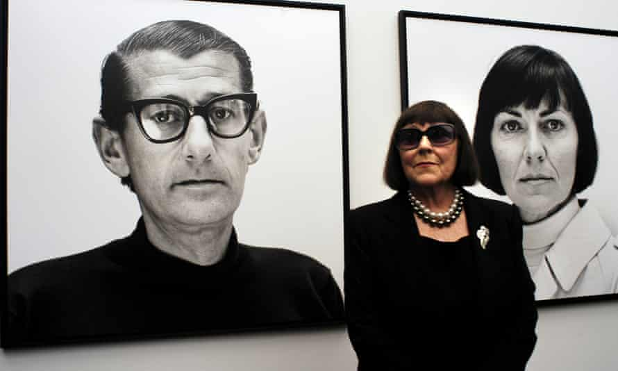 June Newton with photographs of her husband, Helmut, and herself at the opening of the Helmut Newton Foundation, Berlin, 2004.