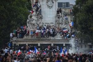 Celebrations in the fountain on the Place de la République in Paris