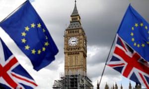 Big Ben with EU flags
