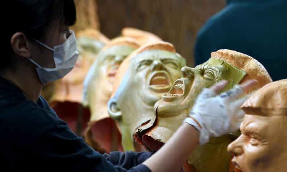 A factory making Donald Trump masks in Saitama, Japan.