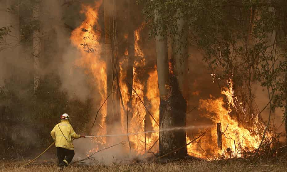 A Tuncurry fire crew member fights the Hillville bushfire south of Taree, NSW