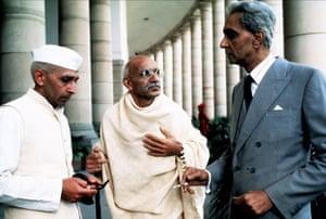Gandhi, 1982 – Roshan Seth as Nehru, Ben Kingsley as Gandhi and Alyque Padamsee as Jinnah.