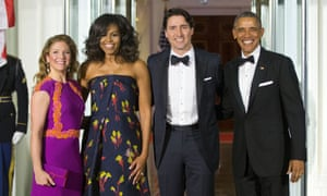 Barack Obama, Justin Trudeau, Michelle Obama and Sophie Gregoire Trudeau