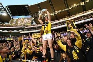 Jack Riewoldt of the Tigers celebrates with fans.