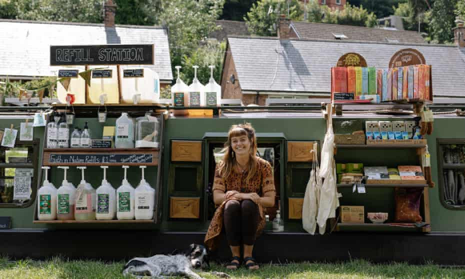 Sylvie Doleman on Holm Oak, filled with the zero-waste refillable produce she sells
