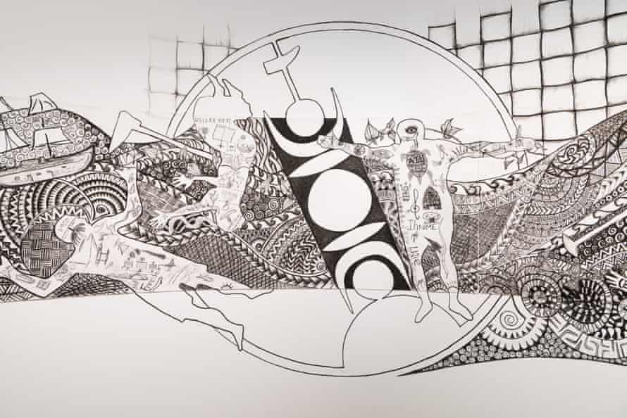 A detail from the Sea Journey: People Without Borders by Erub/Lifou Project, commissioned for APT9.