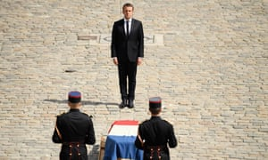 President Emmanuel Macron at the funeral ceremony.