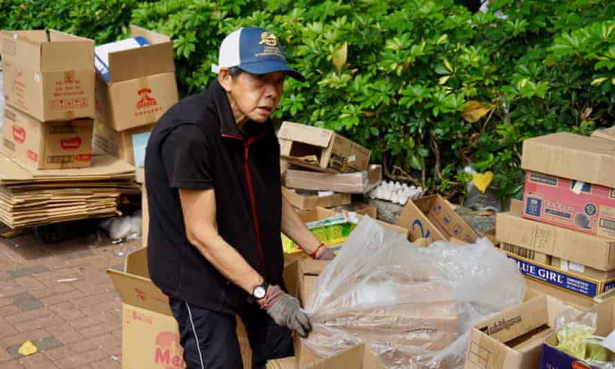 Miss Wong, who earns about HK$41 (£3.60) selling cardboard to recycling plants.