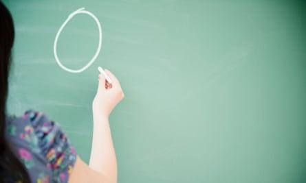 Woman chalks a zero on a blackboard