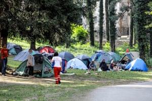 Migrant encampment in the park in Bihac, Bosnia and Herzegovina