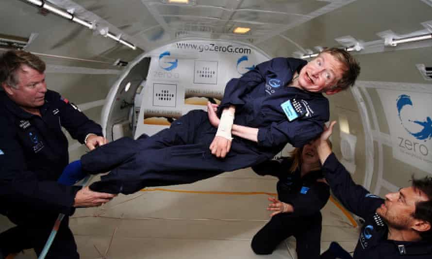Stephen Hawking experiences zero gravity during a flight over the Atlantic Ocean, 2007.