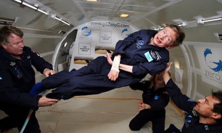 Stephen Hawking experiences zero gravity during a flight over the Atlantic Ocean in 2007.