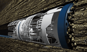 An impression of one of Musk's tunnelling machines.