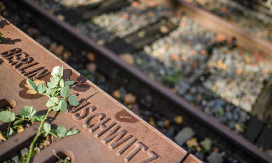 A memorial at the Berlin-Grunewald station in Berlin to commemorate the many thousands of Jews deported from that station to Nazi concentration camps. Six million Jews died in the Holocaust.