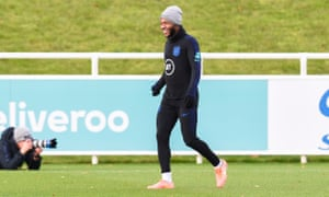 Raheem Sterling in training with England on Tuesday
