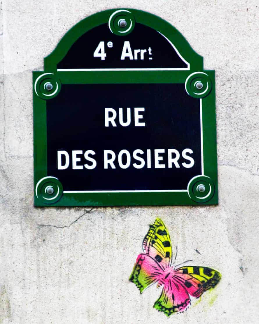 A street sign for the rue des Rosiers in the fourth arrondissement.