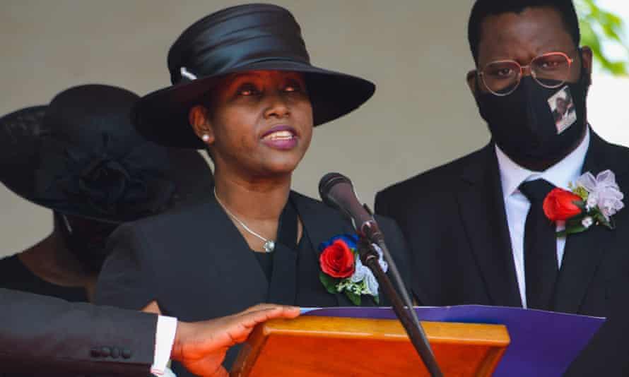 Martine Moïse speaks at her husband's funeral in Cap-Haïtien last week