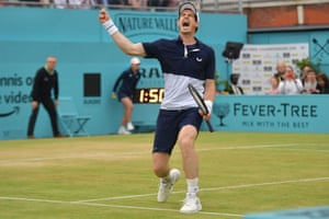 Andy Murray reacts to their win at match-point.