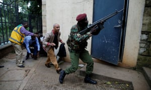 People are evacuated from the compound in Nairobi.