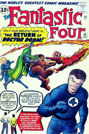 The Fantastic Four No 10, January 1963 with cover artwork by Jack Kirby and Dick Ayers. At bottom left are Stan Lee and Jack Kirby as themselves