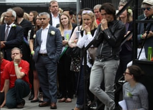 London's mayor, Sadiq Khan, attends the memorial event in Trafalger Square