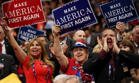 First in line … Republican national convention in Cleveland, Ohio, 2016.