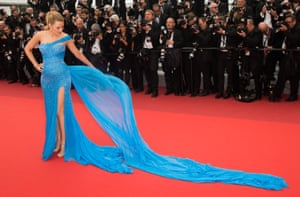 Blake Lively in blue Atelier Versace