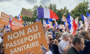 People gather to stage a protest against the vaccination requirement for some professions and the implementation of the Covid-19 health license as well as government's policy with the battle against the pandemic at Chatelet Square in Paris, France.