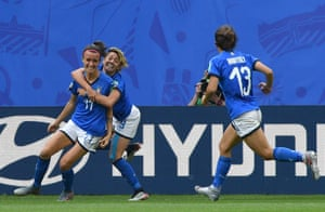 Bonansea is congratulated by teammates after scoring her second goal for Italy.