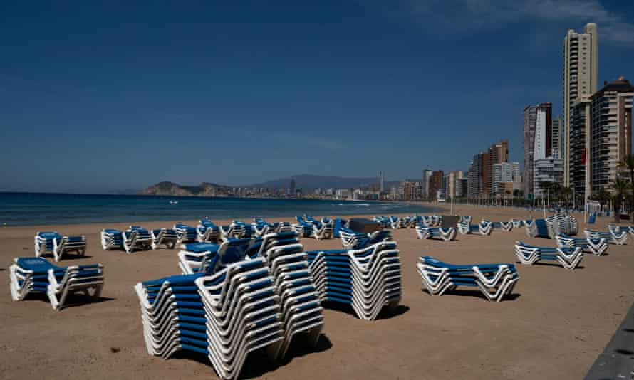 Sun loungers at the closed Levante beach in Benidorm on June 1 await the return of tourists.