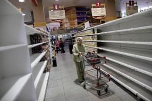 Supermarkets are almost empty as the Venezuelan economic crisis continues.