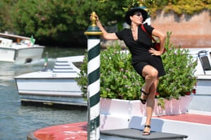 Spanish actress Rossy de Palma arrives by taxi boat at the pier of the Excelsior Hotel on August 30, 2019 during the 76th Venice Film Festival at Venice Lido