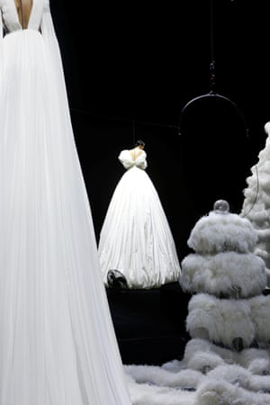 'Couture as an invite to dream with open eyes' is how the show notes described the collection, which was presented by models 'floating' on risers and aerial wires.