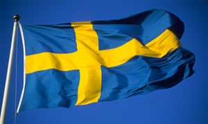 A Swedish flag flies in Stockholm.