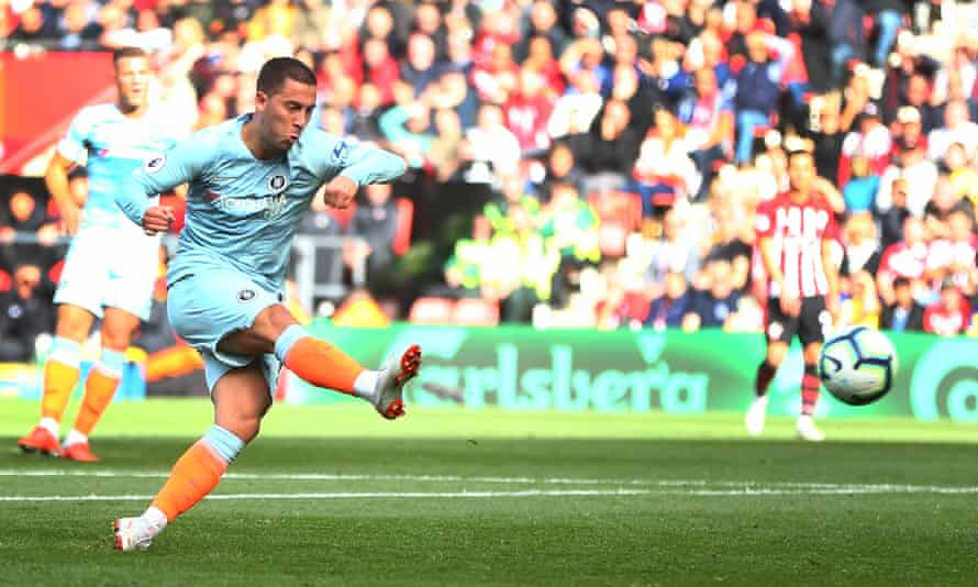 Eden Hazard fires Chelsea into the lead at Southampton on Sunday and is the Premier League's top scorer with seven goals in eight games.
