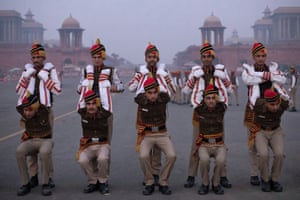New Delhi, India Members of the Delhi police stretch before they rehearse for the Republic Day parade