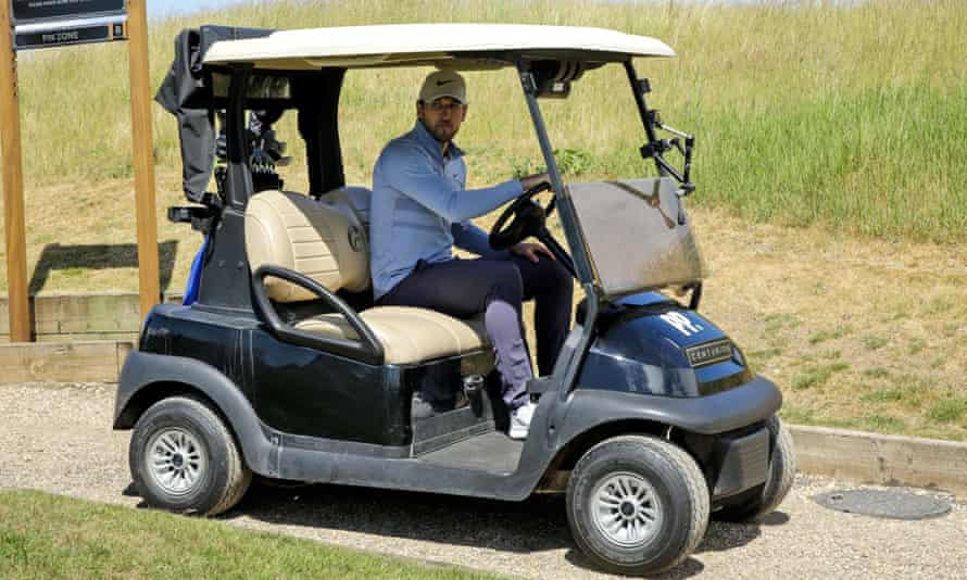 Harry Kane, seen here in a golf buggy during the Pro-Am Golf Shootout in early June, has scored 11 times in 20 Premier League games this season.