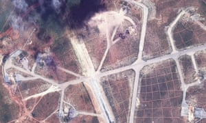 Satellite image captured on 7 April 2017 of the northwest side of the Shayrat air base in Syria, following US missile strikes.