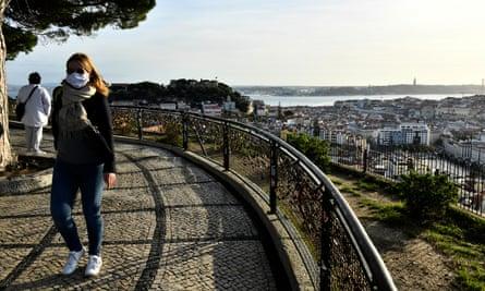 People wearing masks in Lisbon