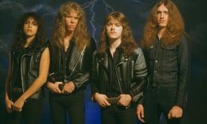 From left, Kirk Hammett, James Hetfield, Lars Ulrich and Cliff Burton of Metallica in 1985.