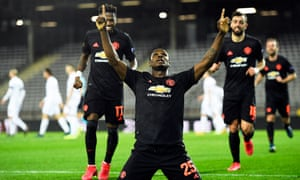Odion Ighalo celebrates after scoring against Lask in the Europa League