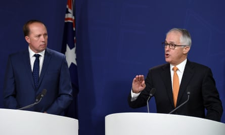 Peter Dutton and prime minister Malcolm Turnbull
