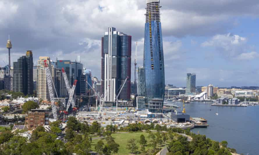 Aerial view of the Barangaroo project under construction