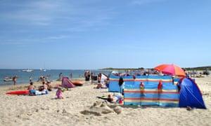 Dorset, England, families on the beach