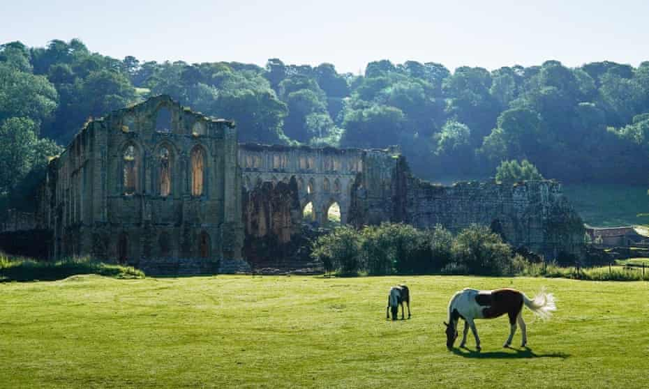 The ruins of Rievaulx Abbey near Helmsley, one of the great abbeys in England until seized by Henry VIII in 1538 during the dissolution of the monasteries.