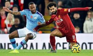 Mohamed Salah of Liverpool (right) against Raheem Sterling of Manchester City in November.