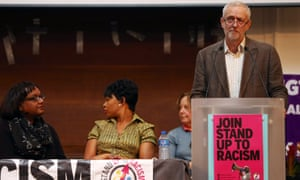 Jeremy Corbyn and, on left, the shadow home secretary Diane Abbot, at the Stand Up To Racism rally in London on Saturday.