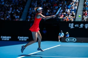 Maria Sharapova plays a forehand in her match against Donna Vekic, which the 2008 Australian Open winner lost 3-6, 4-6