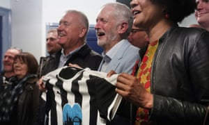 Jeremy Corbyn, centre, meets Newcastle United supporters campaigning to remove club owner, Mike Ashley.